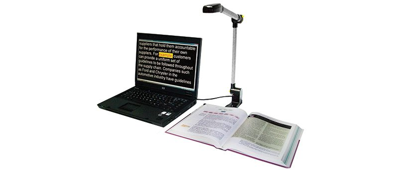 Photo de la caméra Pearl avec OpenBook de Freedom Scientific