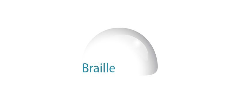 Illustration d'un point braille par une bulle