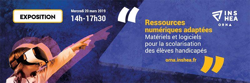 Logo exposition ressources numériques adaptées INSHEA 2019