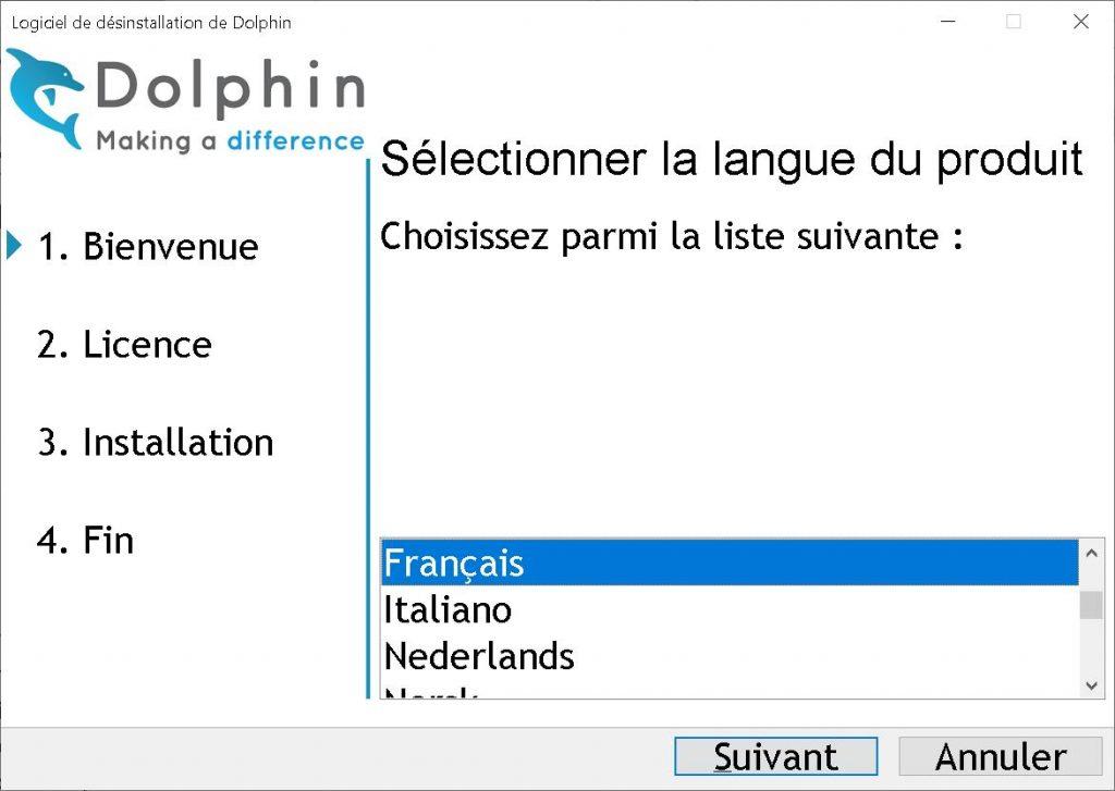 Panneau du choix de langue du logiciel d'agrandissement SuperNova
