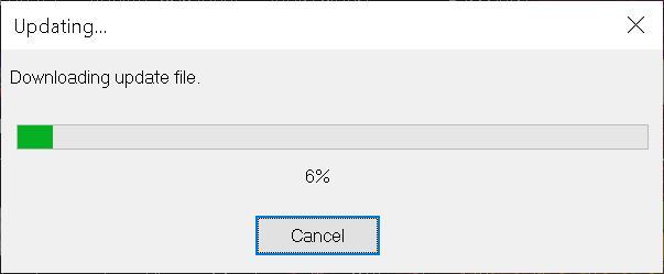 Fenêtre de chargement de la mise à jour du logiciel d'agrandissement SuperNova
