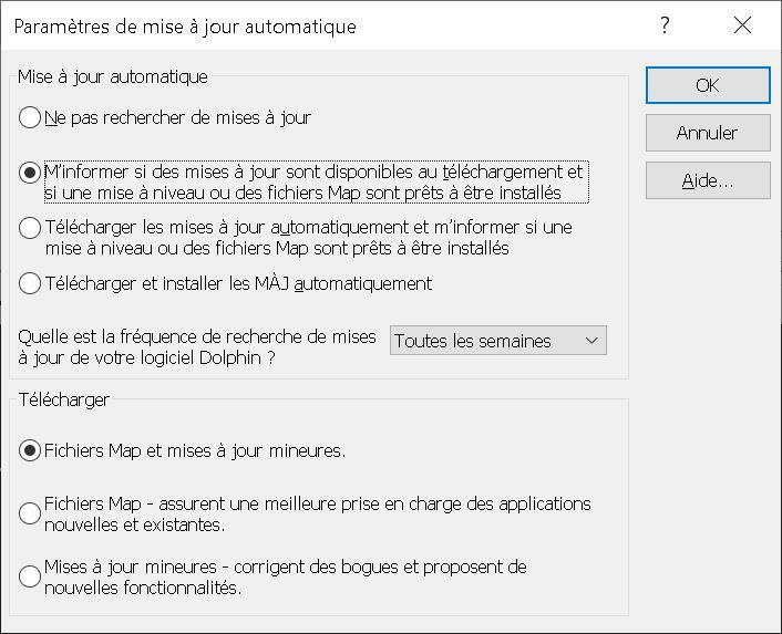 Panneau de paramétrage des réglages de mise à jour automatique du logiciel d'agrandissement SuperNova