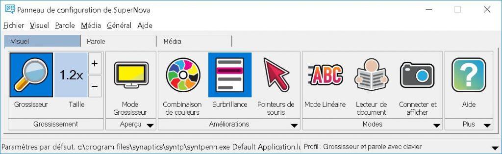 Copie d'écran de l'onglet visuel SuperNova