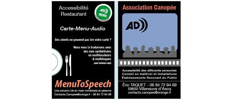 Accessibilité sonore des restaurants avec la Carte-Menu-Audio